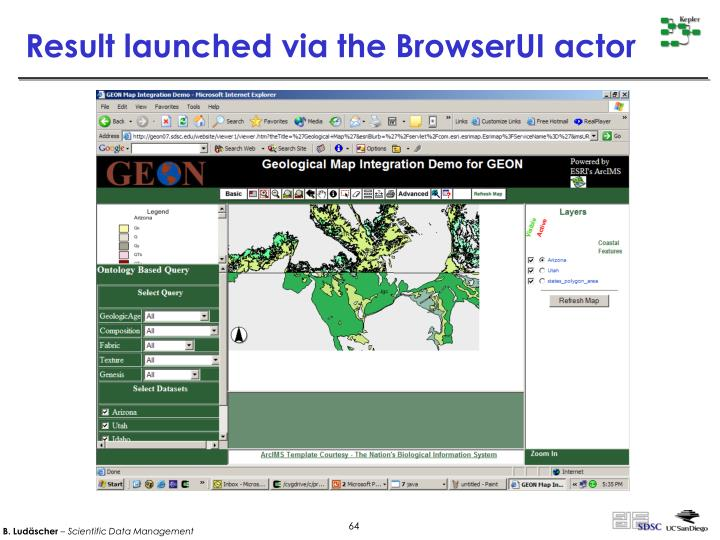 Result launched via the BrowserUI actor
