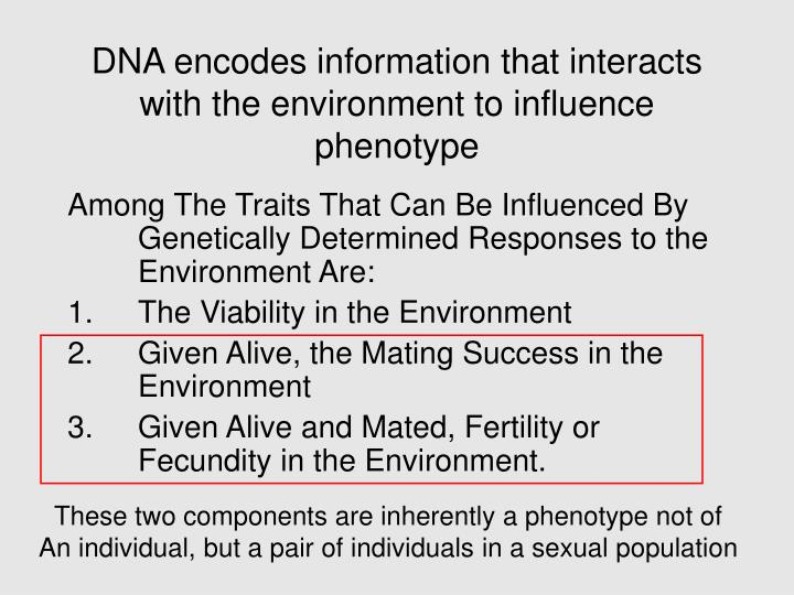 Dna encodes information that interacts with the environment to influence phenotype