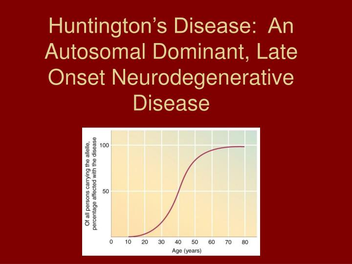 Huntington's Disease:  An Autosomal Dominant, Late Onset Neurodegenerative Disease