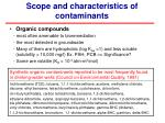 scope and characteristics of contaminants1