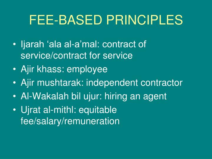 FEE-BASED PRINCIPLES