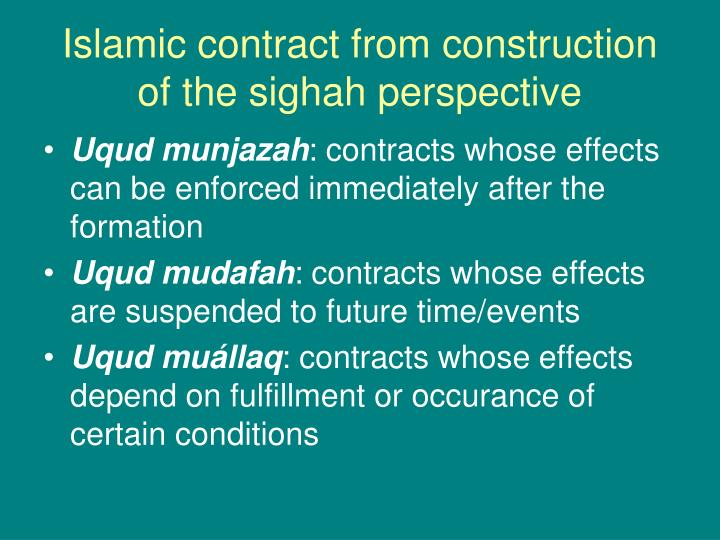 Islamic contract from construction of the sighah perspective