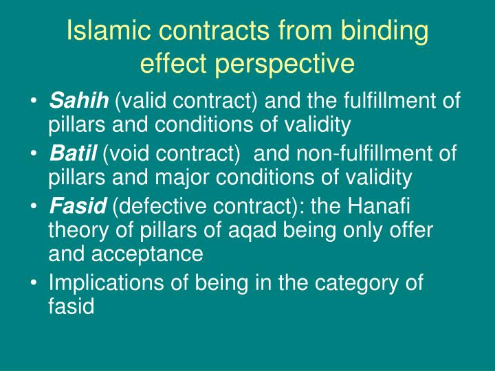 Islamic contracts from binding effect perspective