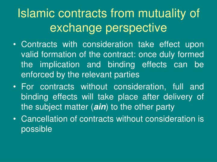 Islamic contracts from mutuality of exchange perspective