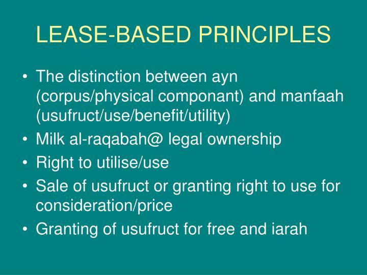 LEASE-BASED PRINCIPLES