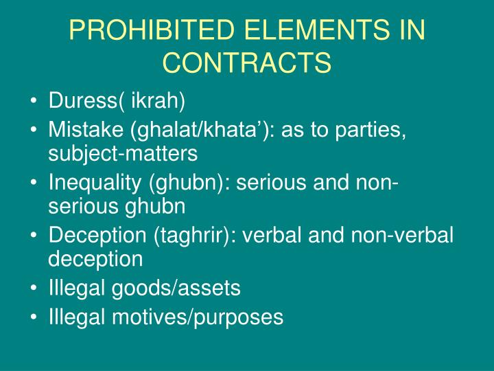 PROHIBITED ELEMENTS IN CONTRACTS