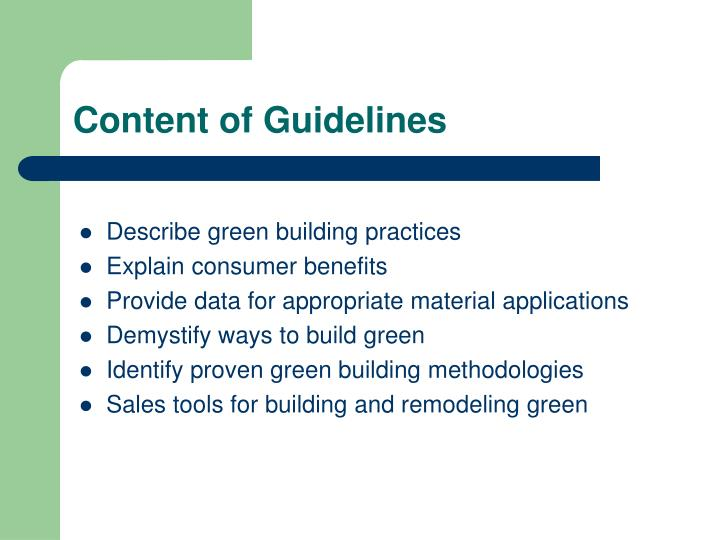 Content of Guidelines
