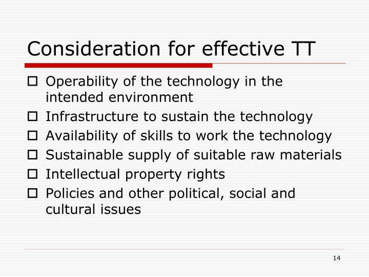 Consideration for effective TT
