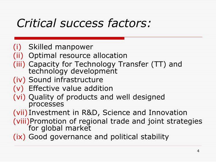 Critical success factors: