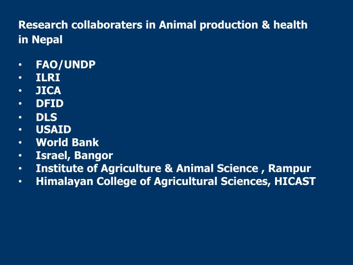 Research collaboraters in Animal production & health