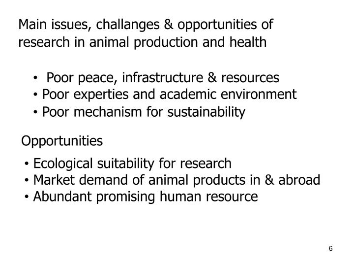 Main issues, challanges & opportunities of