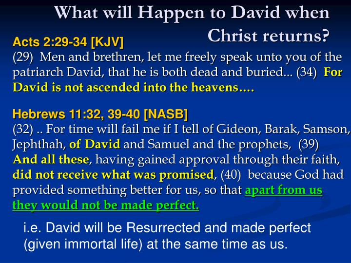 What will Happen to David when Christ returns?