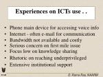 experiences on icts use