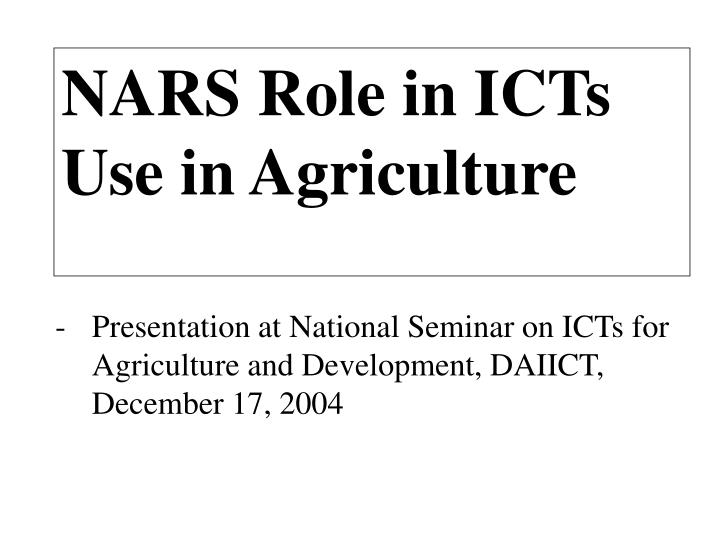 nars role in icts use in agriculture n.