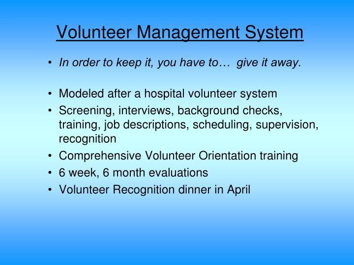 Volunteer Management System