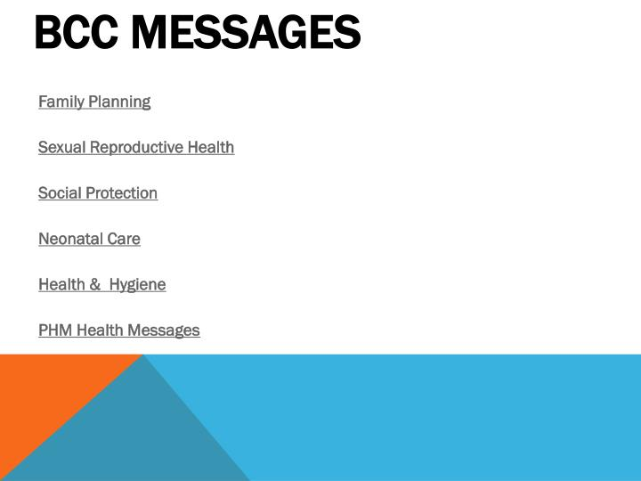 bcc messages n.