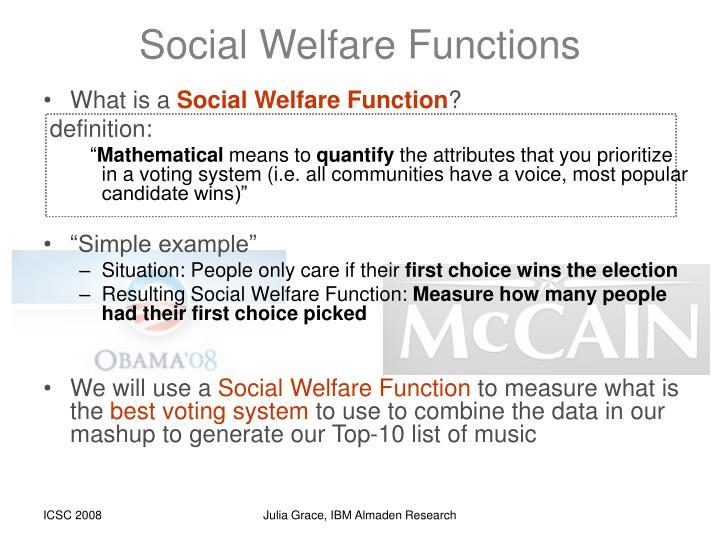 Social Welfare Functions