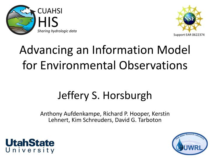 advancing an information model for environmental observations n.