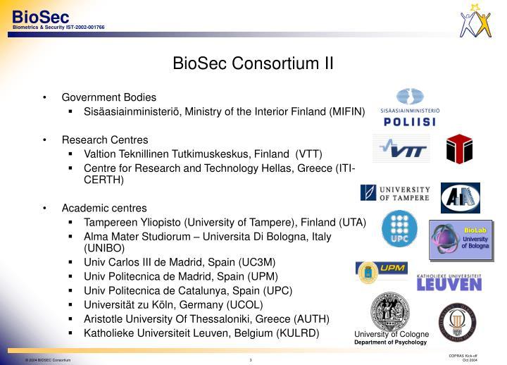 Biosec consortium ii