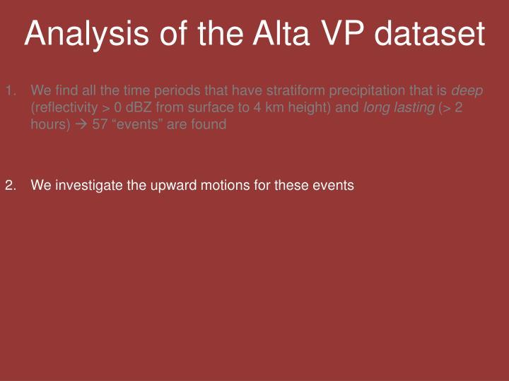 Analysis of the Alta VP dataset