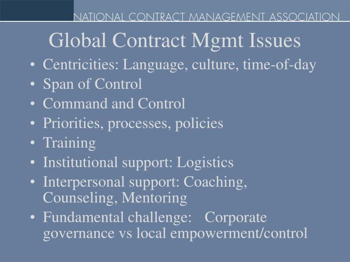 Global Contract Mgmt Issues