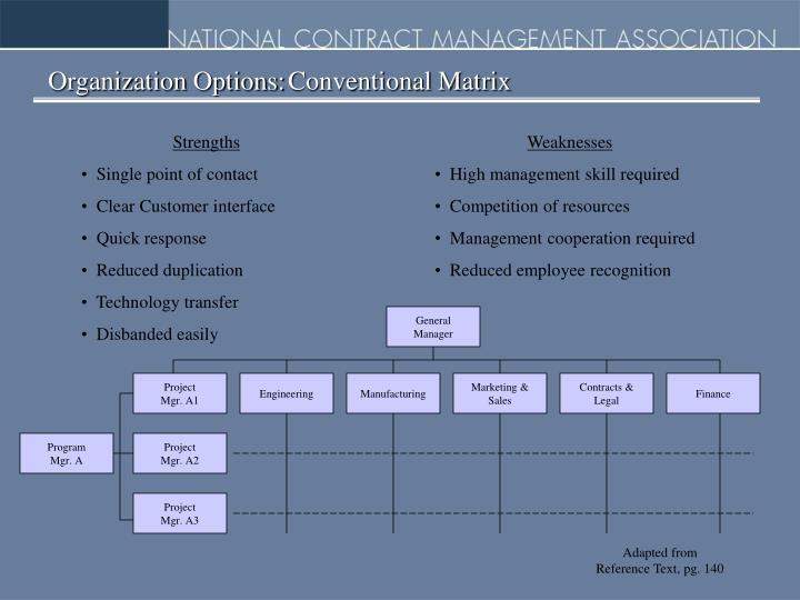 Organization Options:Conventional Matrix