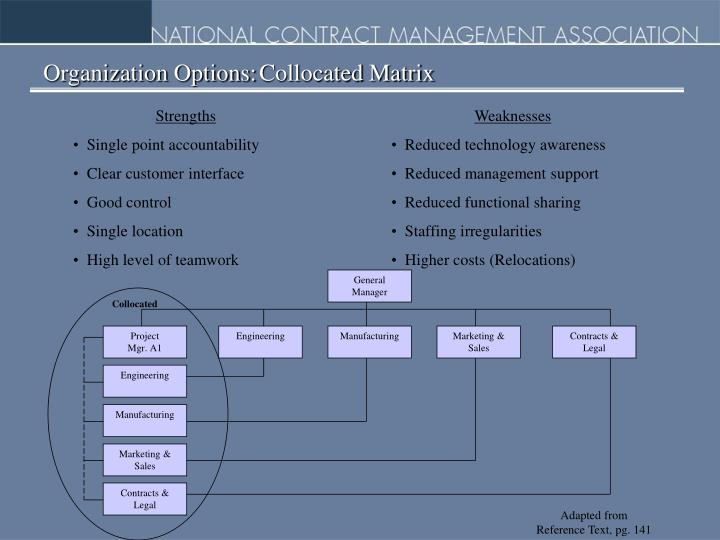 Organization Options:Collocated Matrix