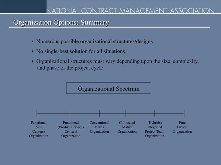 Organization Options: Summary