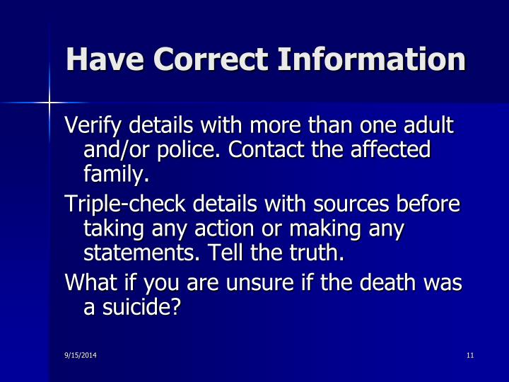 Have Correct Information