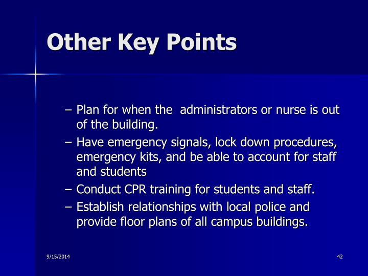 Other Key Points