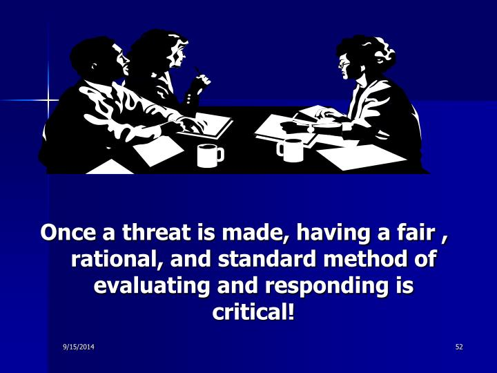Once a threat is made, having a fair , rational, and standard method of evaluating and responding is critical!