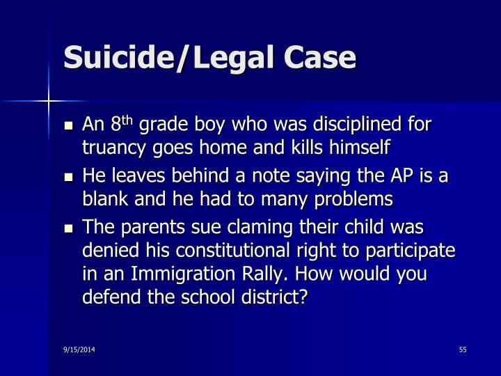Suicide/Legal Case
