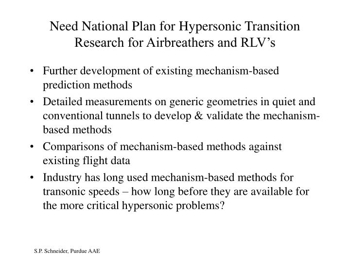 Need National Plan for Hypersonic Transition Research for Airbreathers and RLV's