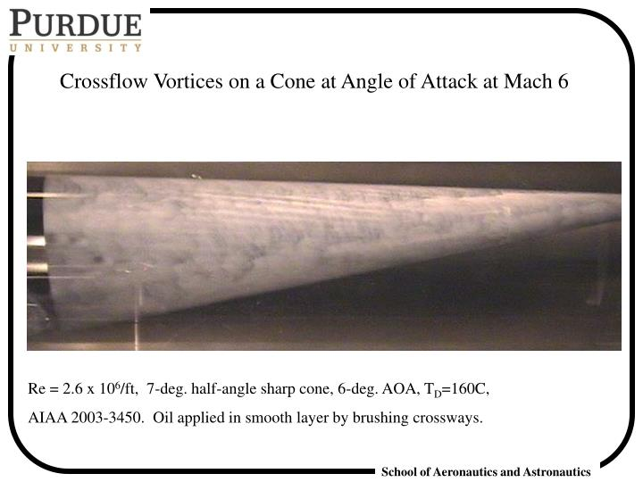 Crossflow Vortices on a Cone at Angle of Attack at Mach 6