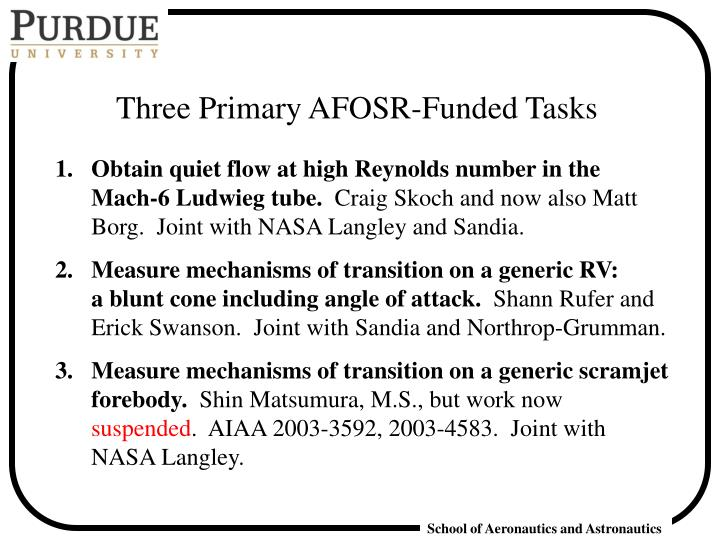 Three Primary AFOSR-Funded Tasks
