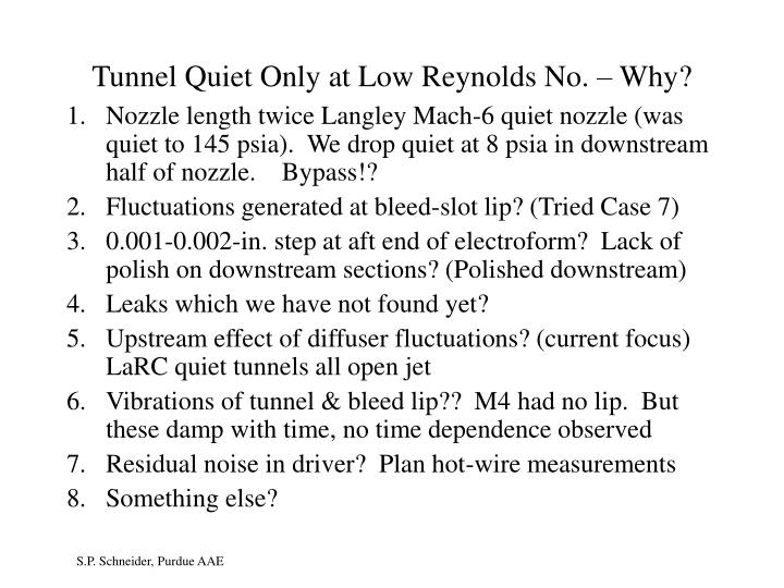 Tunnel Quiet Only at Low Reynolds No. – Why?