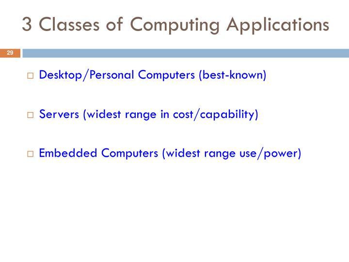 3 Classes of Computing Applications