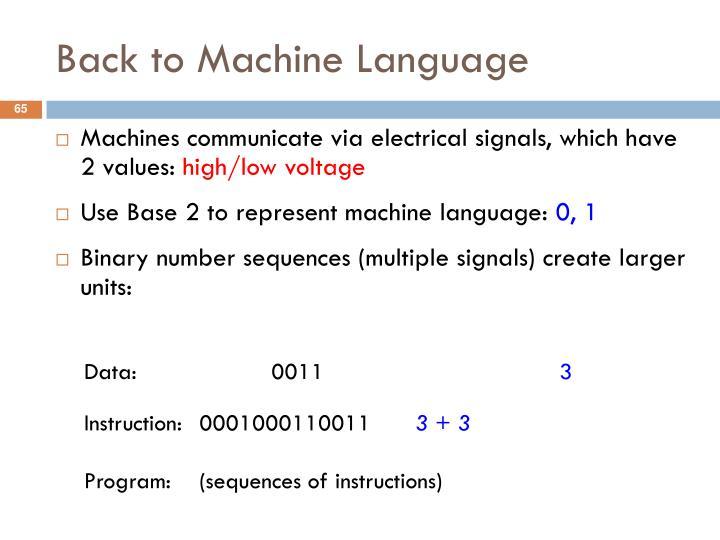 Back to Machine Language