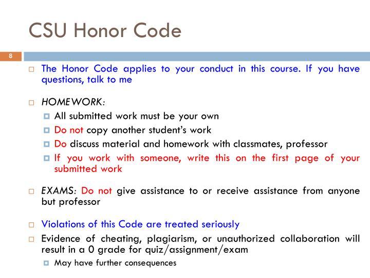 CSU Honor Code