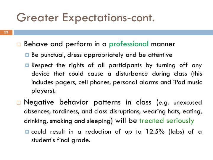 Greater Expectations-cont.
