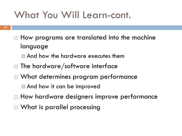 What You Will Learn-cont.