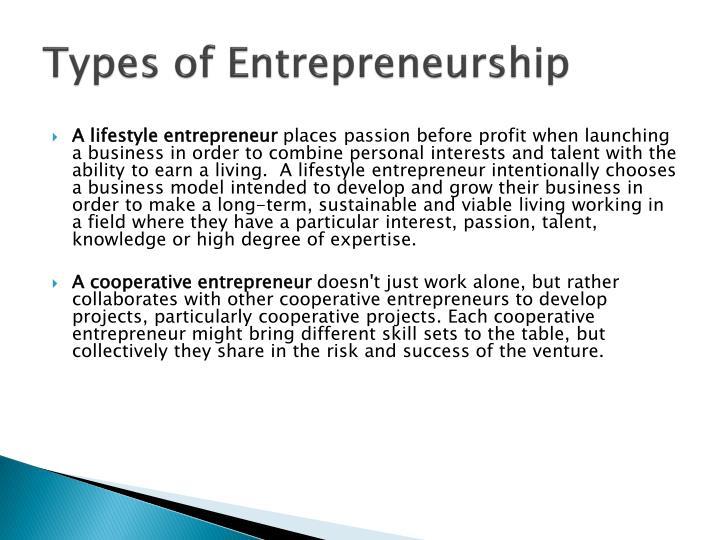 Types of Entrepreneurship