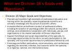 what are division 16 s goals and objectives