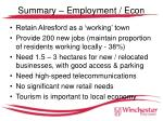 summary employment econ