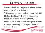 summary housing