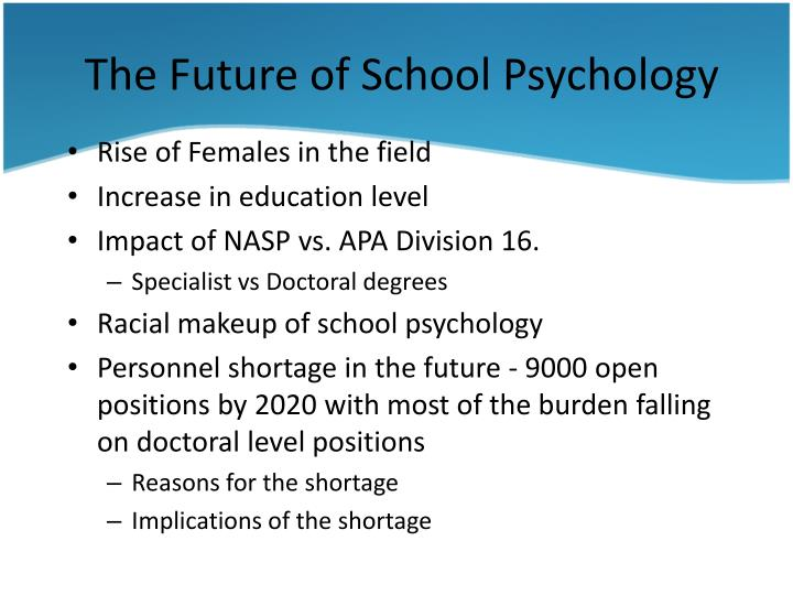 The Future of School Psychology
