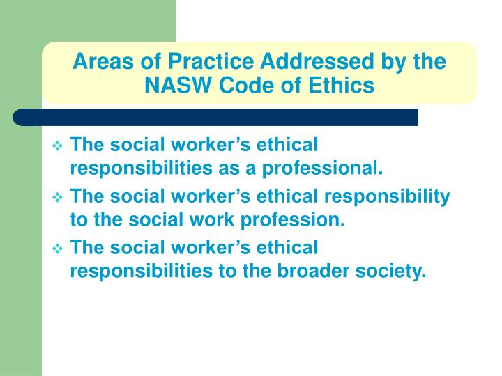 Areas of Practice Addressed by the NASW Code of Ethics
