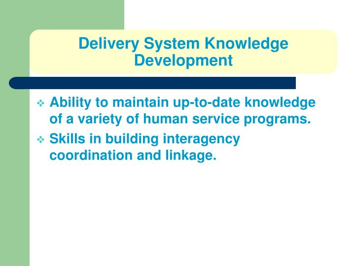 Delivery System Knowledge Development