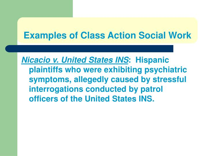 Examples of Class Action Social Work