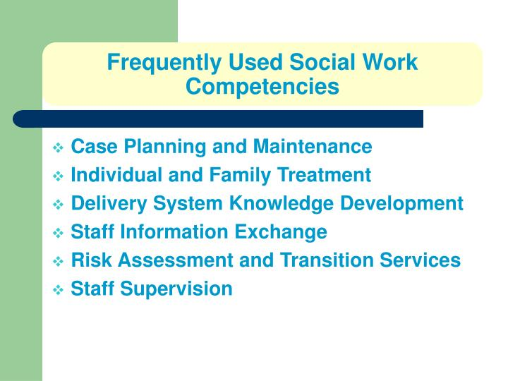 Frequently Used Social Work Competencies